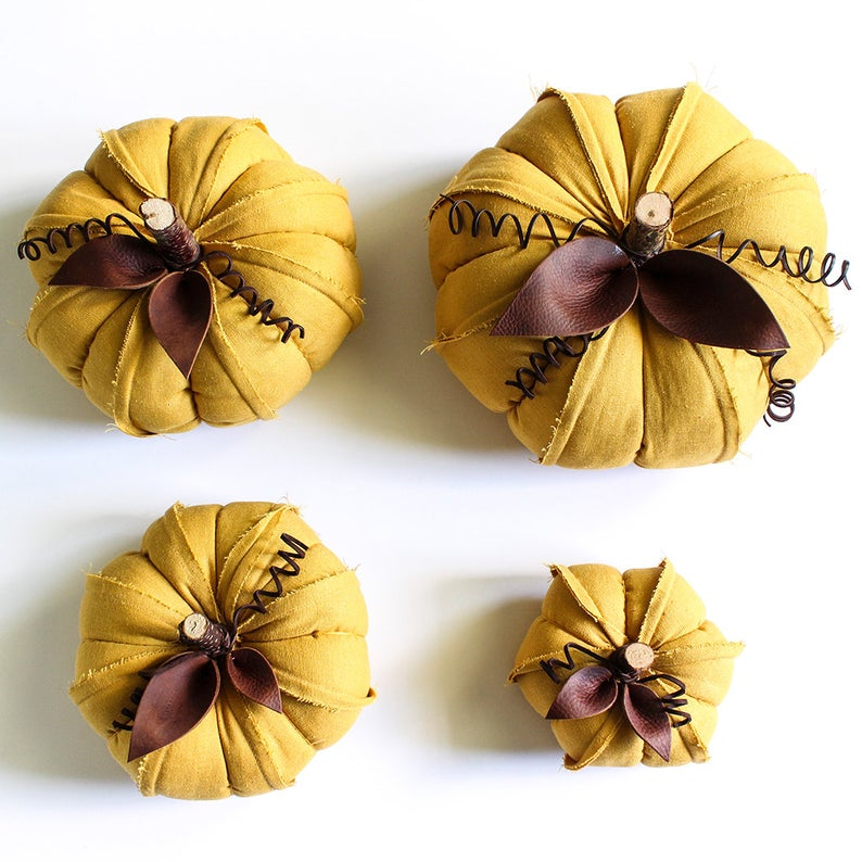 honey yellow linen pumpkins