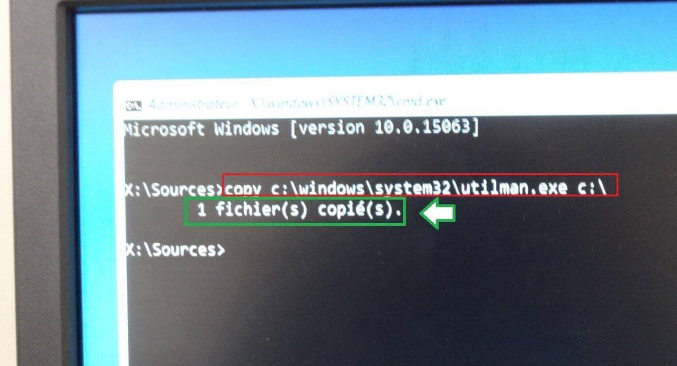copy c:\windows\system32\utilman.exe c: