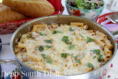 An Italian-American pasta dish, this southernized version of ziti comes together fairly quickly in a skillet on top of the stove, but with no sacrifice of the classic flavor.