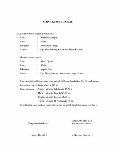 Contoh Format Surat Kuasa Penjualan Tanah