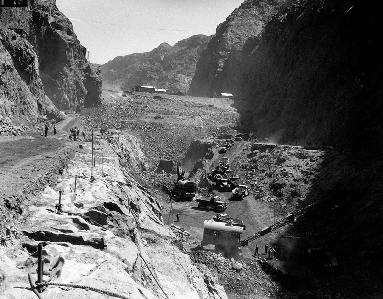 The cleared, underlying rock foundation of the dam site was reinforced with grout, called a grout curtain. Holes were driven into the walls and base of the canyon, as deep as 150 feet (46 m) into the rock, and any cavities encountered were to be filled with grout. This was done to stabilize the rock.