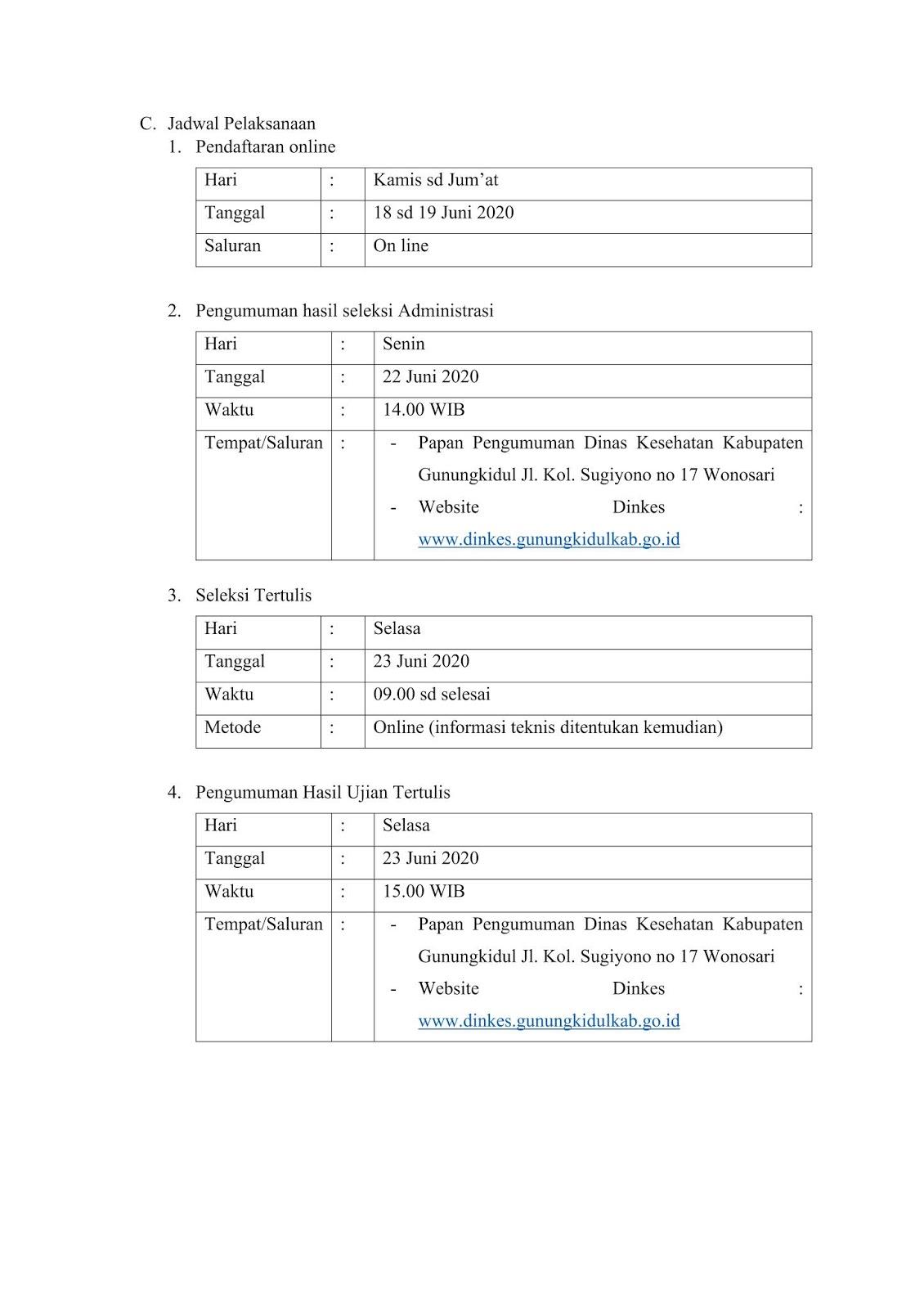 Penerimaan Pegawai Kontrak Non Pns Rsud Saptosari Dinkes Kabupaten Gunungkidul Rekrutmen Dan Lowongan Kerja Bulan Februari 2021
