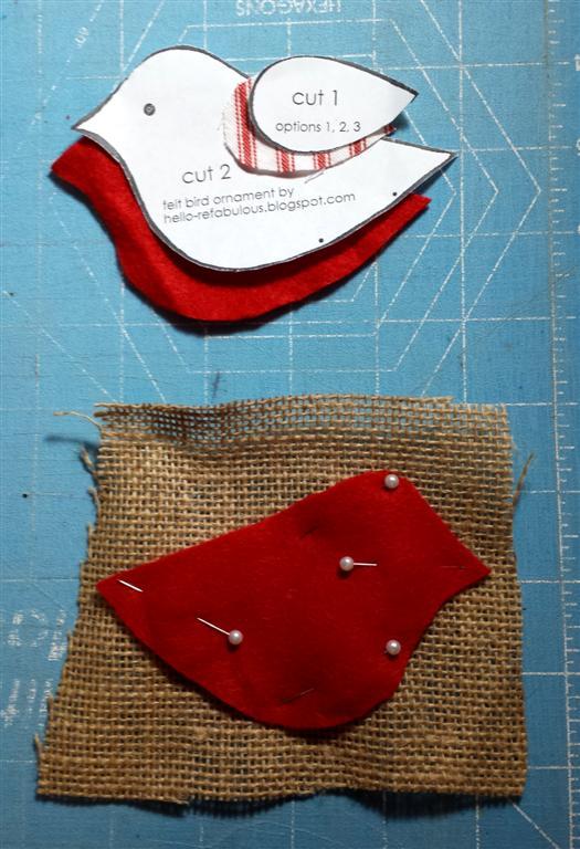 Instruções para feltro e enxada pássaro Natal ornamento, via refabulous
