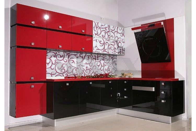 Best 55 modular red kitchen designs cabinets walls - Black red and white kitchen designs ...