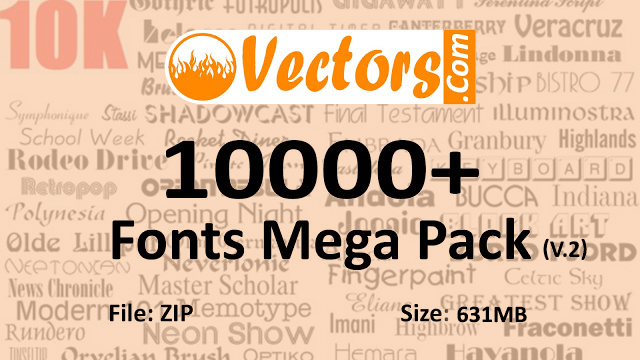 10,000 Fonts Pack Free Download