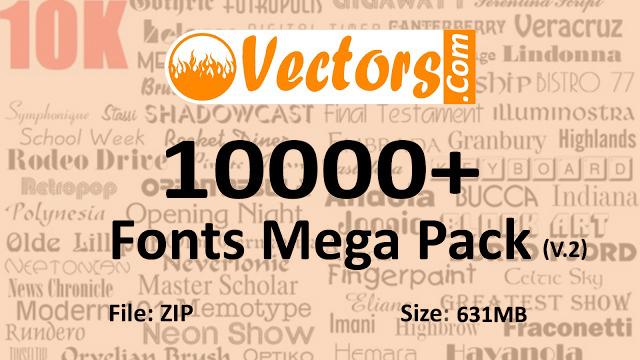 10,000 Fonts Pack Free Download V.2