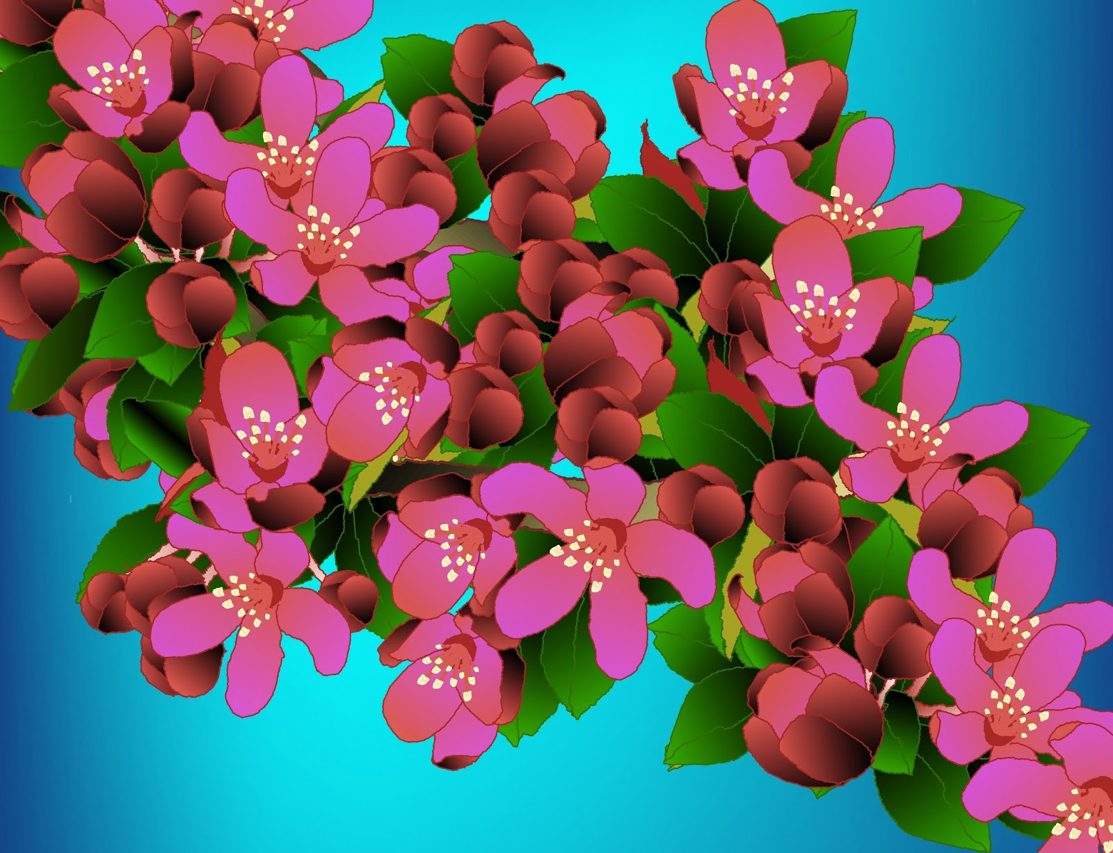 salliesART Malus x Prairifire Flowering Crabapple