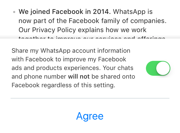 WhatsApp account sharing to Facebook
