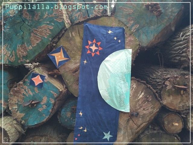 Puppilalla, The Rakish Needle Robin, Round Robin Quilt, Applique, Foundation Paper Stars, Universe Quilt, Star Quilt, Improv Stars