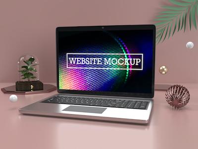 3D Website mockup photoshop template