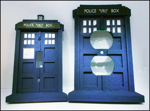 Doctor Who Tardis Police Box Light Switch And Outlet Plate Set   Doctor Who bedroom - Doctor Who themed bedroom ideas - decorating Doctor Who theme -  Doctor Who decor - Doctor Who Bedding - dr who bedroom ideas - Dr Who Tardis - doctor who