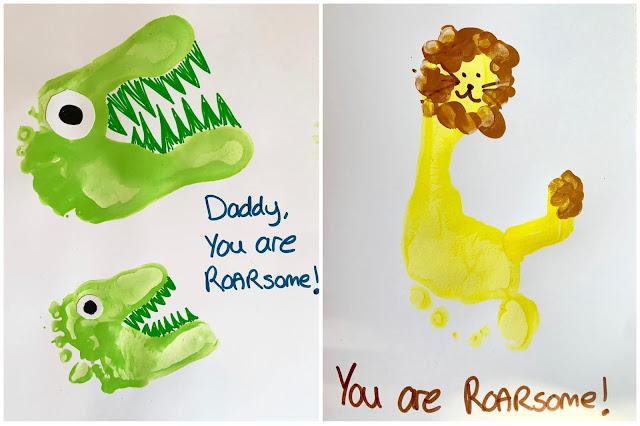 Dinosaur and Lion Your are Roarsome Footprint card ideas
