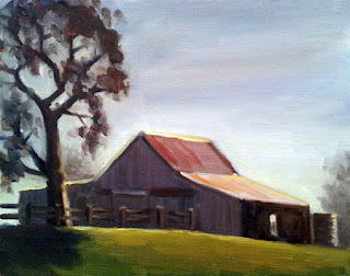 Oil painting of a corrugated iron shed near a post-and-rail fence and a large eucalyptus tree.