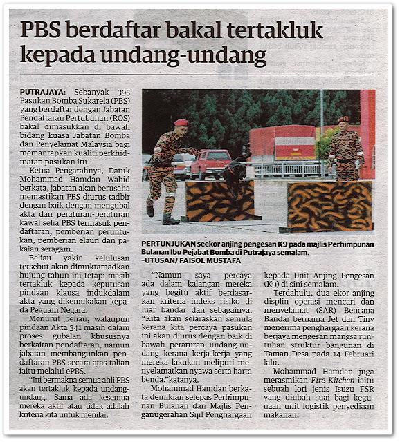 PBS berdaftar bakal tertakluk kepada undang-undang - Keratan akhbar Utusan Malaysia 28 Julai 2020