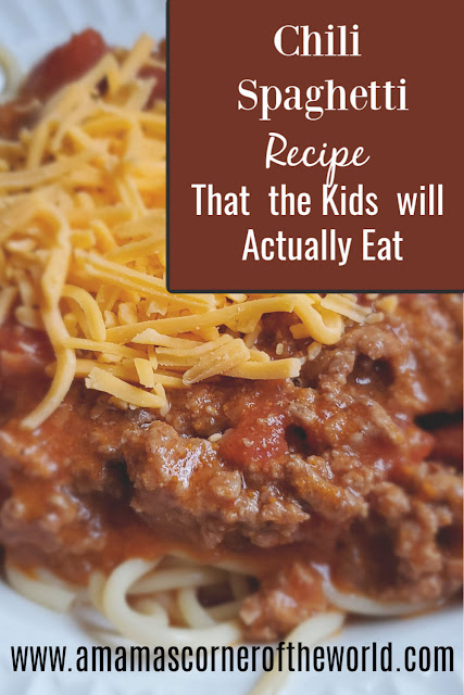 pinnable recipe for  recipe for mild chili spaghetti that the kids will actually eat