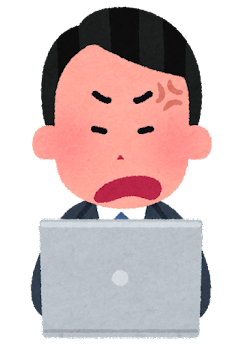 パソコンを使う会社員のイラスト(男性・怒った顔)