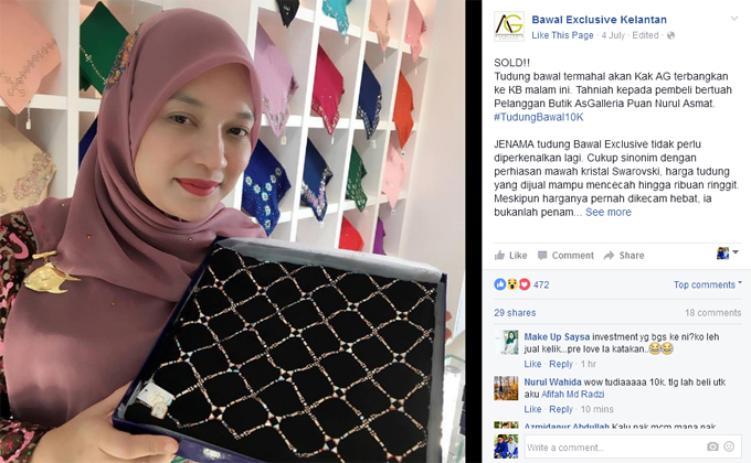 Kenapa harga Tudung Bawal Exclusive Puan Nurul Asmat RM10,000