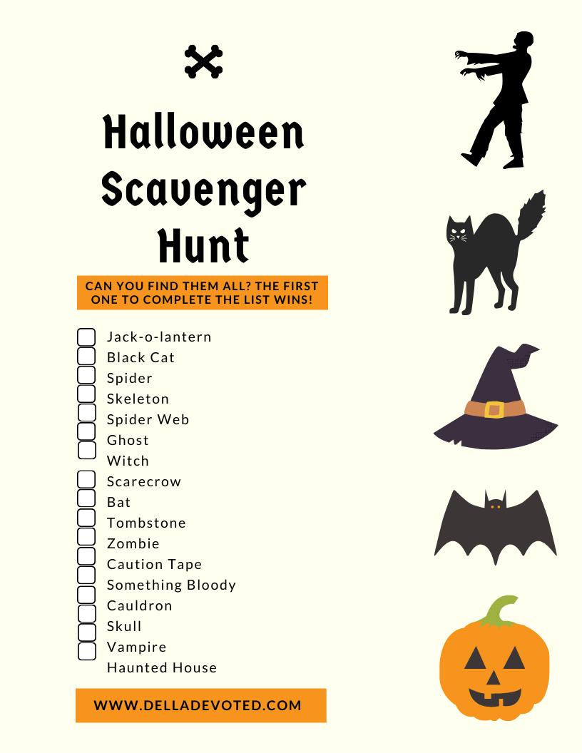 Halloween Scavenger Hunt + Free Printable Copy - Della Devoted