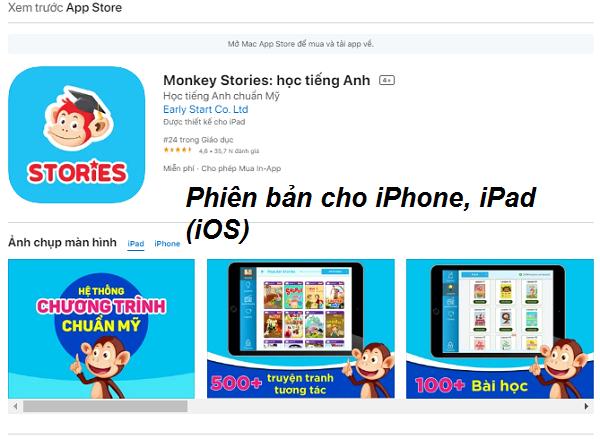 Tải Monkey Stories - App học tiếng Anh từ truyện tranh, sách nói cho bé b