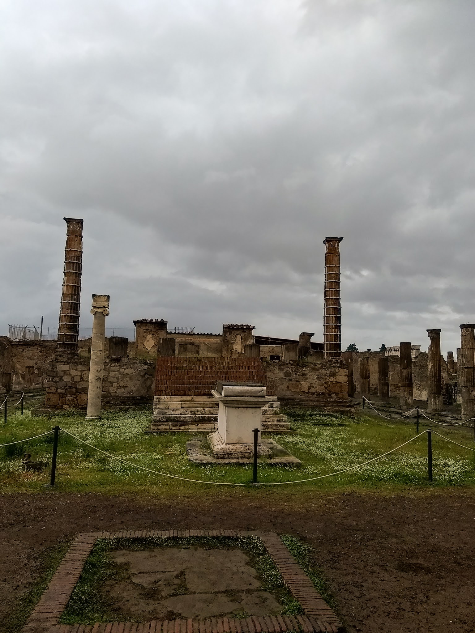 View of the temple of Apollo in ancient Pompeii.