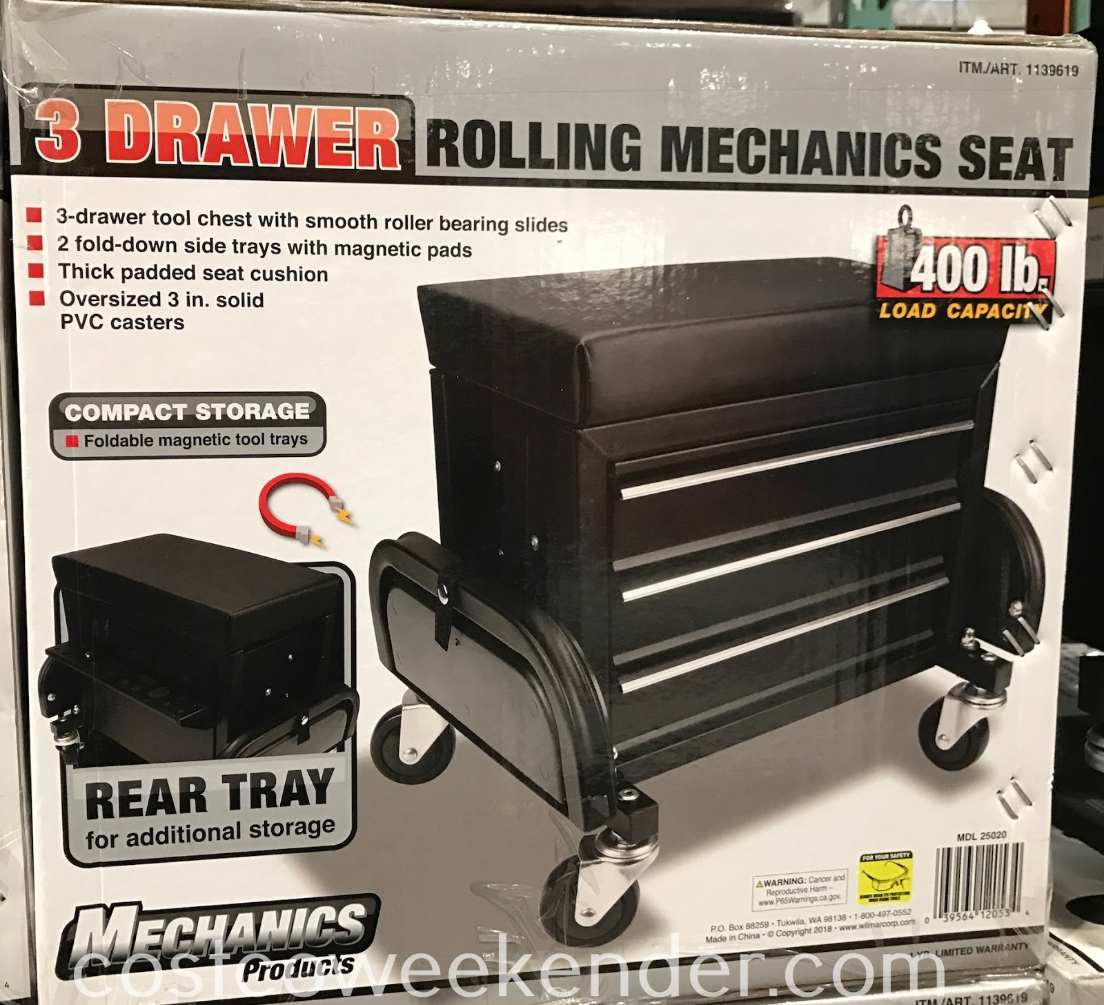 Easily work on your car or in the garage with the 3-Drawer Rolling Mechanics Seat