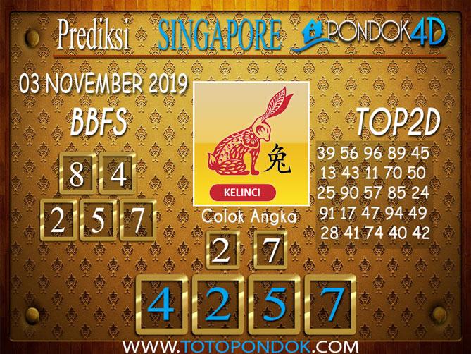 Prediksi Togel SINGAPORE PONDOK4D 03 NOVEMBER 2019