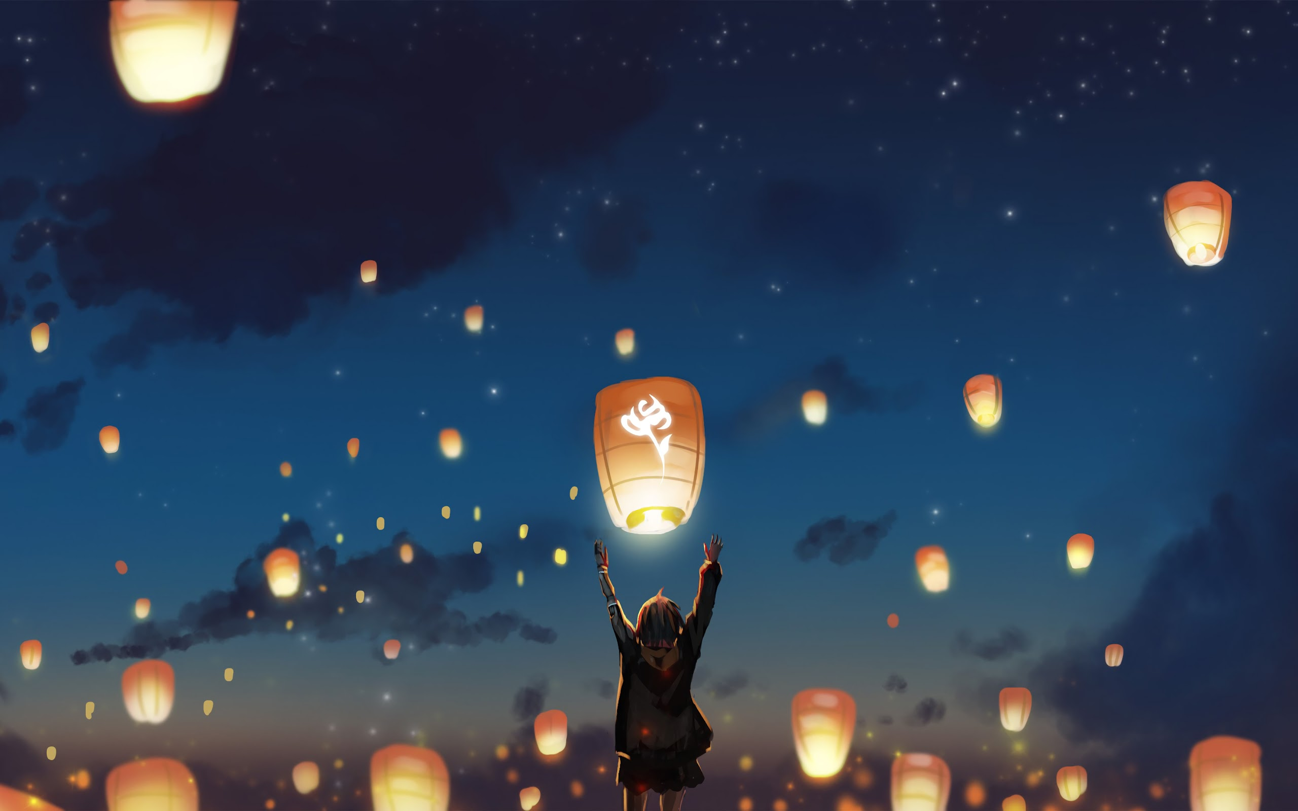 sky lantern scenery anime uhdpaper.com 4K 133