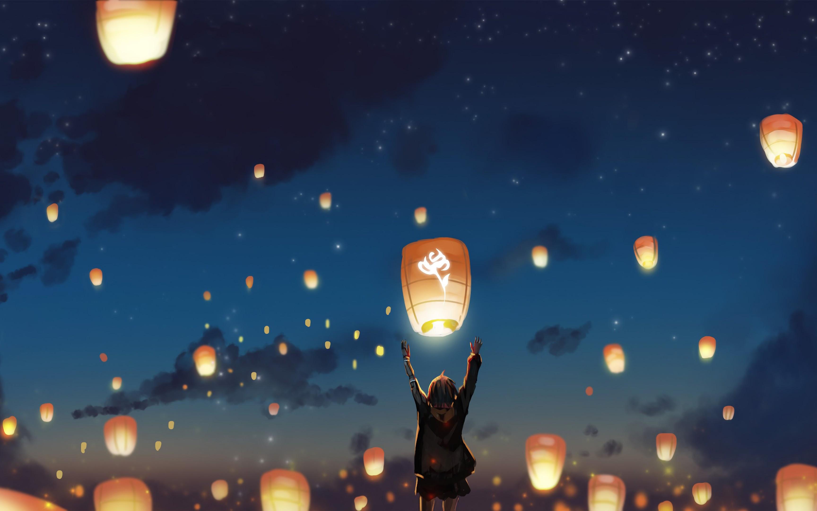 Sky Lantern, Scenery, Anime, 4K, #133 Wallpaper