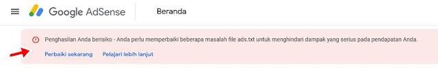 notifikasi ads.txt si google adsense