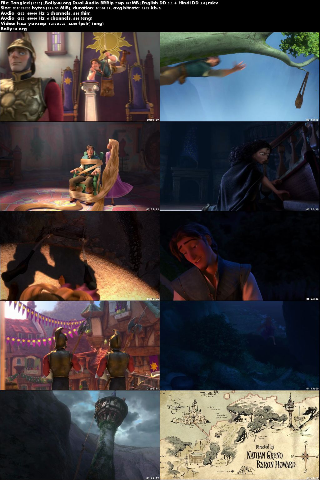Tangled 2010 BRRip 850MB Hindi Dual Audio 720p Download