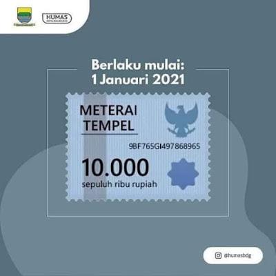 materai baru 10.000 2021