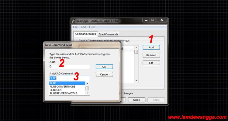 Menambahkan Command Aliases Shortcut AutoCAD