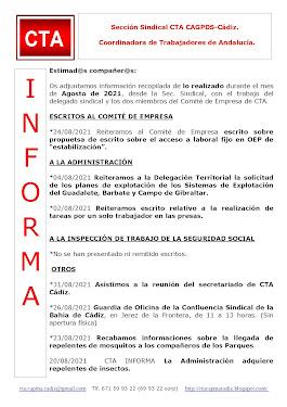 C.T.A. INFORMA, LO REALIZADO EN AGOSTO DE 2021