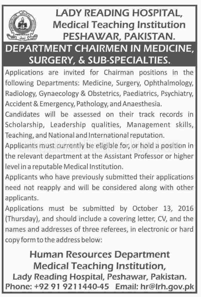 Chairman Jobs in Lady Reading Hospital Peshawar