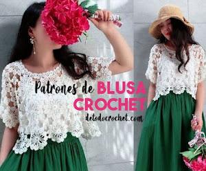 Hermosa blusa tejida a crochet con explicación y patrones