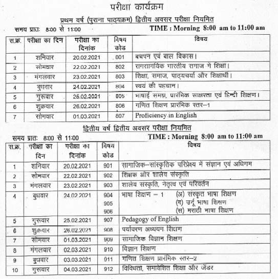 MP D.El.Ed 1st, 2nd year Exam Time Table 2021 Page 1