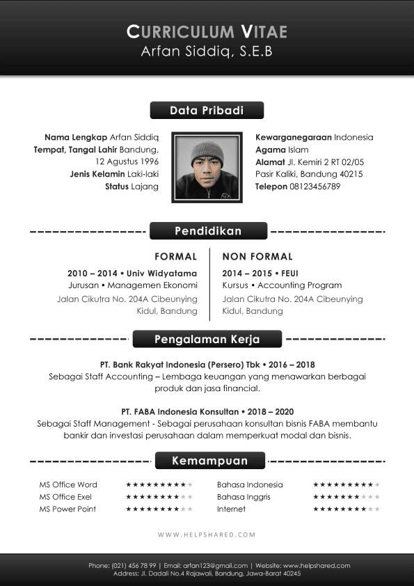 Contoh CV Lamaran Kerja Curriculum Vitae Bagus Hitam Putih