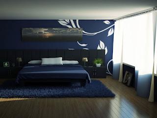 habitación azul blanco