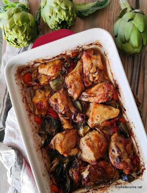 Rostit al forn amb pollastre i carxofes