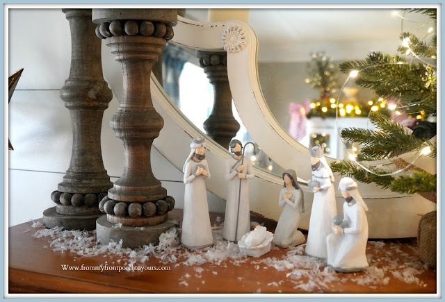Cottage- Farmhouse -Christmas- Foyer-French-Country-Vignette-Manger-From My Front Porch To Yours