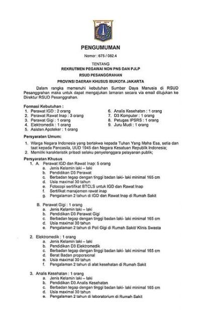 Lowongan Kerja Non PNS Rumah Sakit Umum Daerah Pesanggrahan Juni 2020