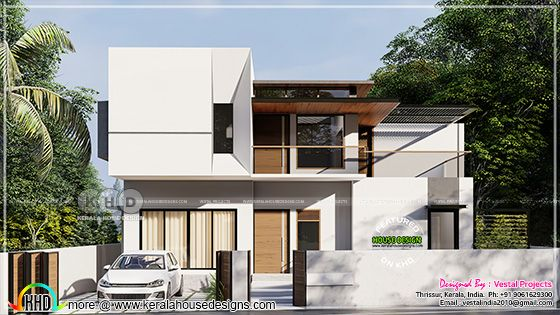 Modern Kerala house front view 3d rendering