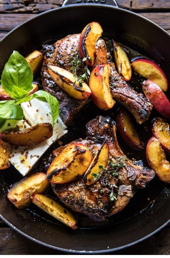 Skillet Balsamic Peach Pork Chops With Feta And Basil
