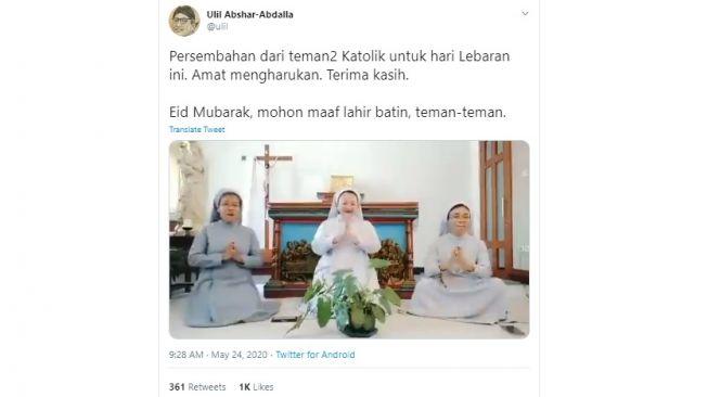 Ulil Mengaku Terharu Lihat 3 Biarawati Katolik Nyanyi Lagu Lebaran