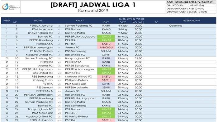 Jadwal Lengkap Liga 1 2019