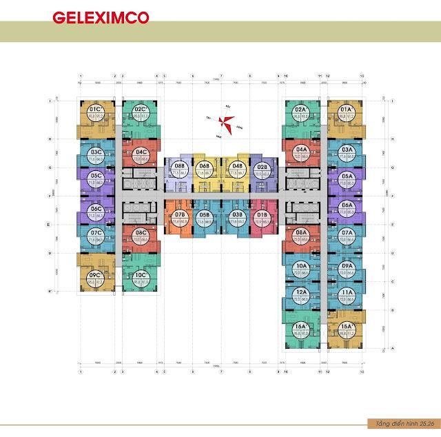 Mặt bằng tầng 25,26 chung cư Gemek Premium