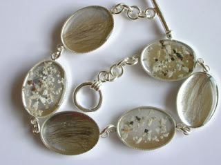 Sterling silver bracelets with ashes and locks of hair