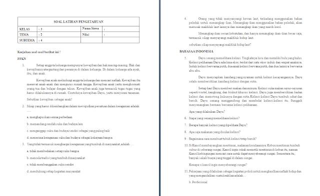 Soal PH Kelas 3 SD/MI: Tema 2