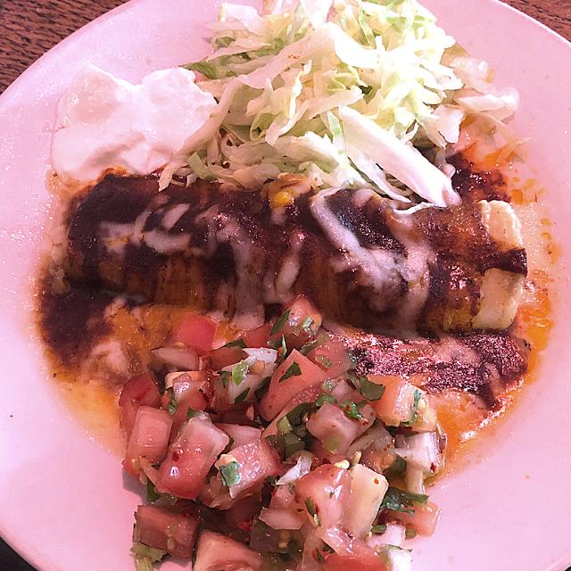 Chicken enchilada with a side of fresh pico de gallo. (Tasting portion.)