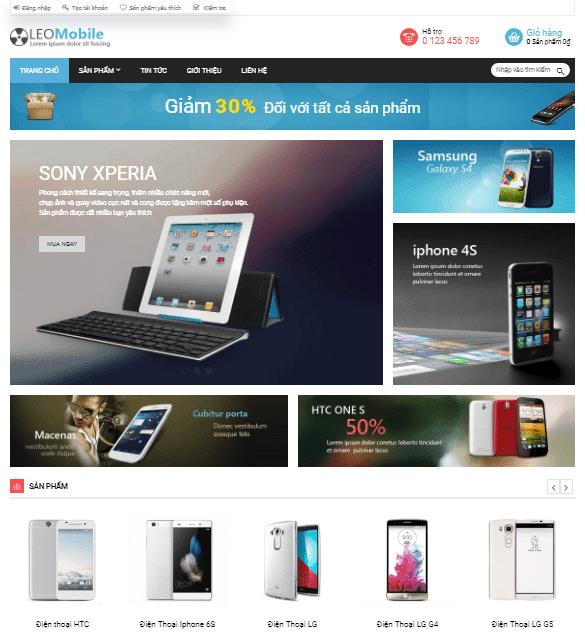 Template blogspot bán điện thoại mobile